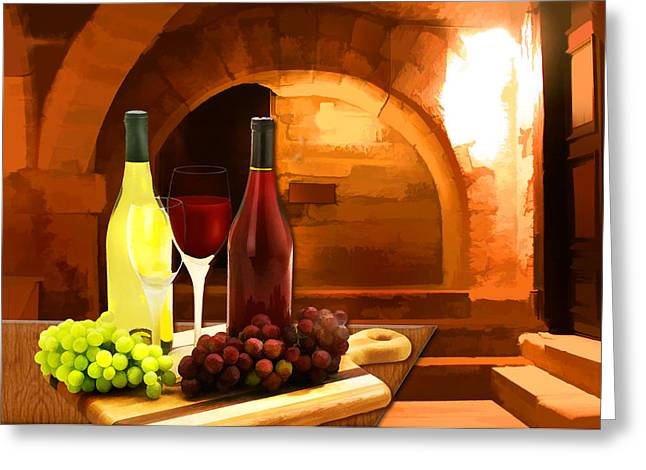 Sparkling Wine Digital Art Greeting Cards - Red and White in the Cellar Greeting Card by Elaine Plesser
