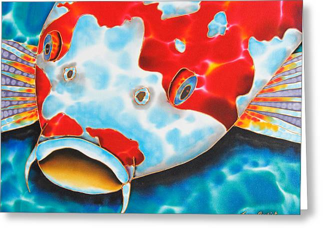 Pond Tapestries - Textiles Greeting Cards - Red and White Koi     Greeting Card by Daniel Jean-Baptiste