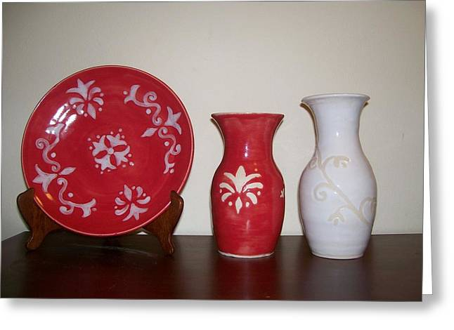 Decor Ceramics Greeting Cards - Red And White Greeting Card by Monika Hood