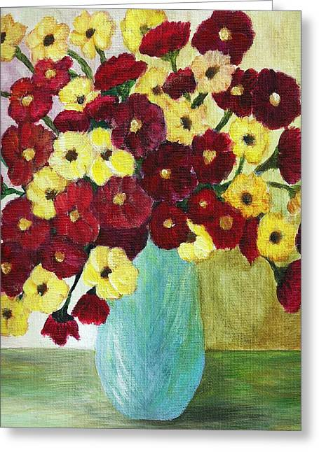 Red And Yellow Bouquet In Blue Greeting Card by Christy Saunders Church