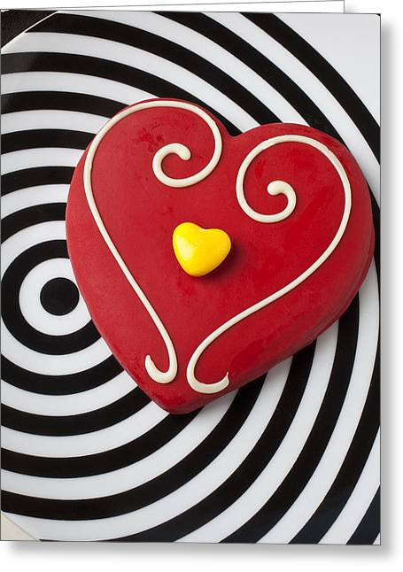 Life Line Greeting Cards - Red and Yellow Heart Greeting Card by Garry Gay