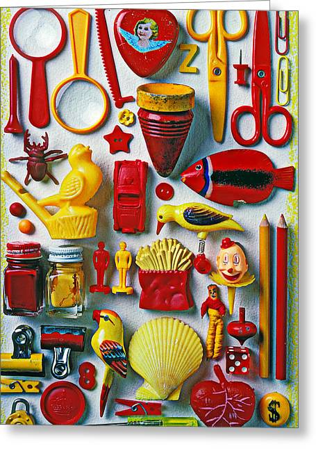 Scissors Greeting Cards - Red and yellow objects Greeting Card by Garry Gay