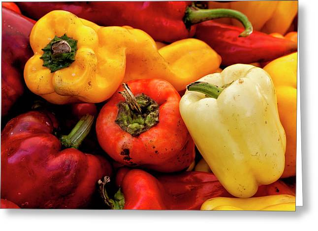 Yellow Pepper Greeting Cards - Red and Yellow Peppers Greeting Card by Robert Ullmann