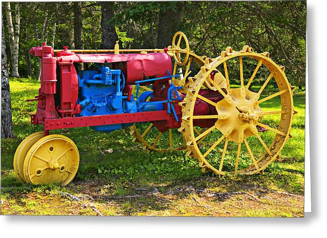 Red And Yellow Tractor Greeting Card by Garry Gay