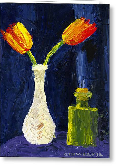 Abstract Tulips Greeting Cards - Red and Yellow Tulips In Vase Abstract Palette Knife Painting Greeting Card by Keith Webber Jr