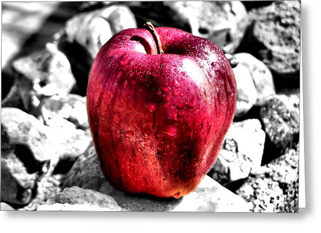 Apple Greeting Cards - Red Apple Greeting Card by Karen M Scovill