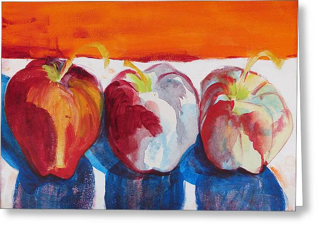 Suzanne Willis Greeting Cards - Red Apples Greeting Card by Suzanne Willis