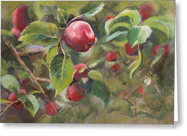 Apple Pastels Greeting Cards - Red Apples Greeting Card by Synnove Pettersen