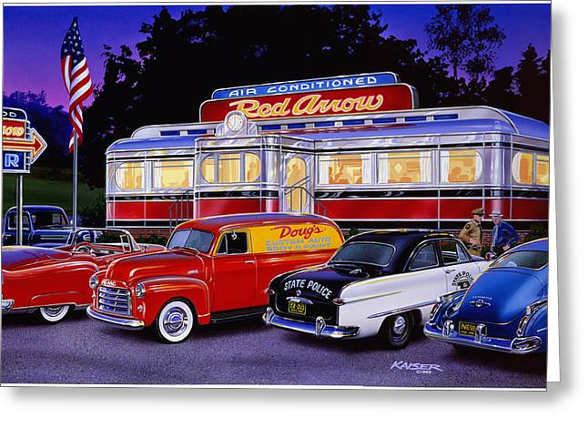 Travel Truck Greeting Cards - Red Arrow Diner Greeting Card by Bruce Kaiser