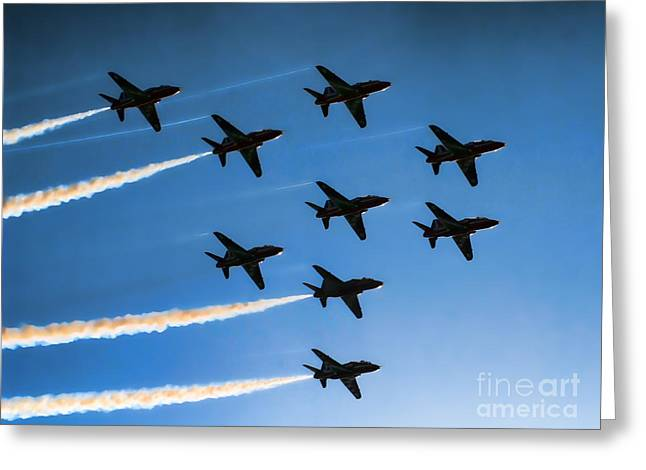 Giclée Fine Art Greeting Cards - Red Arrows Greeting Card by Graham Taylor
