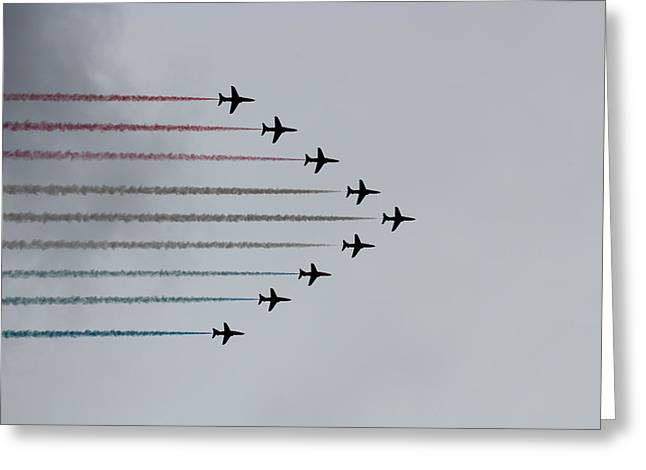 Smoke Trail Greeting Cards - Red Arrows horizontal Greeting Card by Jasna Buncic