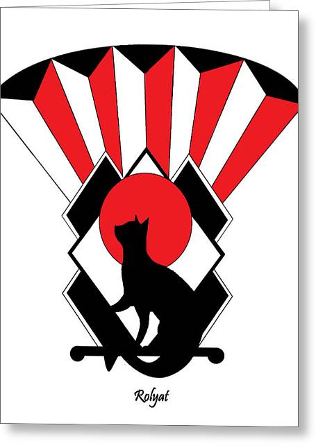 Erte Greeting Cards - Red Art Deco Cat 1 Greeting Card by Rolyat Art