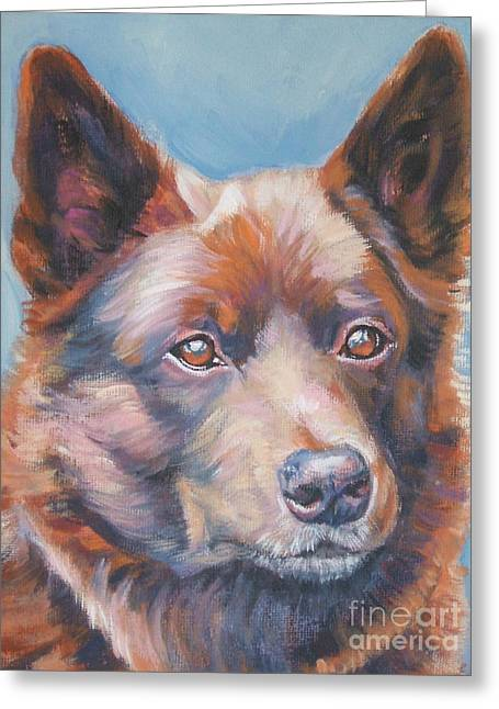 Kelpie Paintings Greeting Cards - red Australian Kelpie Greeting Card by Lee Ann Shepard