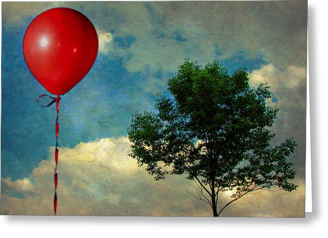 Digital Manipulation Art Greeting Cards - Red Balloon Greeting Card by Jessica Brawley