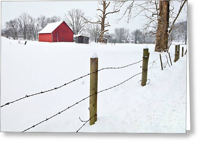 Shed Digital Art Greeting Cards - Red Barn and Fresh Snow - D006392a Greeting Card by Daniel Dempster