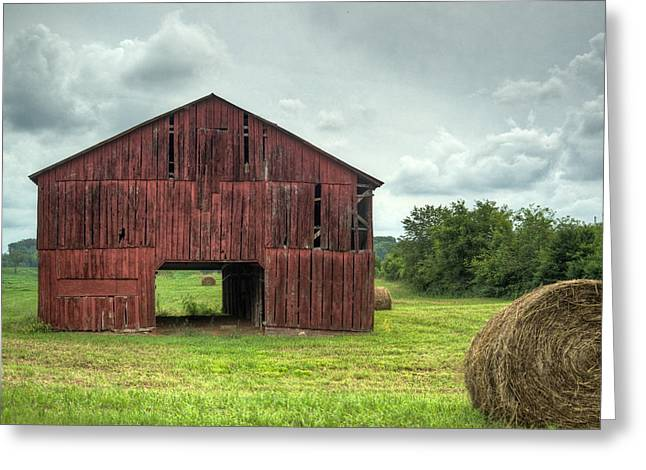 Rafters Greeting Cards - Red Barn and Hay bales 2 Greeting Card by Douglas Barnett