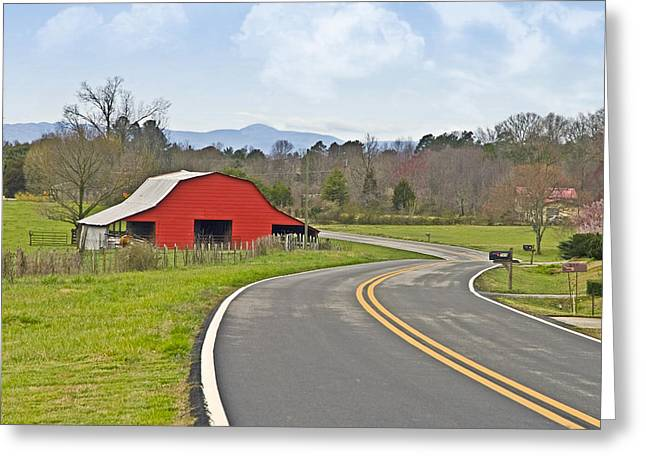 Susan Leggett Greeting Cards - Red Barn and Mountains Greeting Card by Susan Leggett