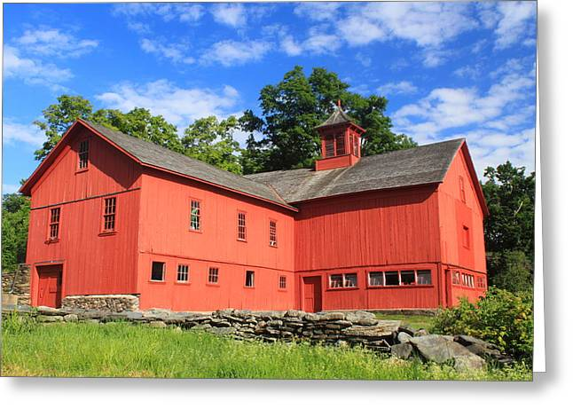 Cummington Greeting Cards - Red Barn at Bryant Homestead Greeting Card by John Burk