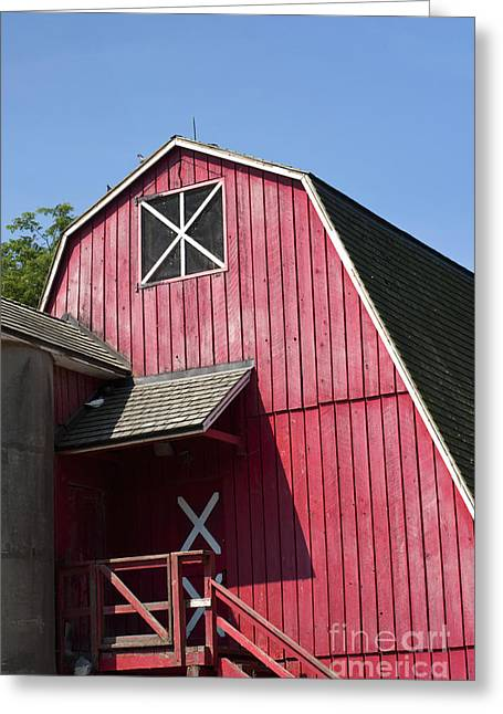 Red Buildings Photographs Greeting Cards - Red barn Greeting Card by Blink Images