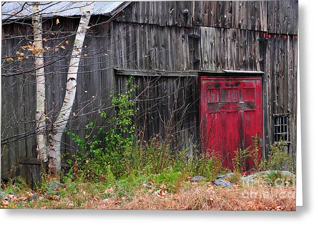 Folksy Greeting Cards - Red Barn Door - Dublin New Hampshire Greeting Card by Thomas Schoeller