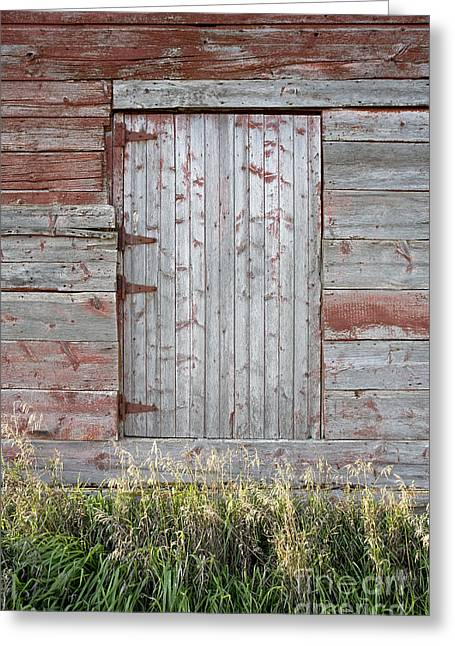 Barn Door Digital Greeting Cards - Red Barn Door Greeting Card by Glennis Siverson