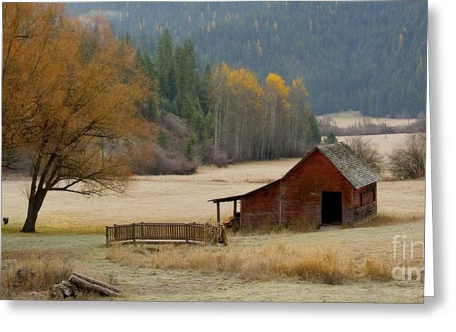 Hdr Landscape Greeting Cards - Red Barn in Autumn Greeting Card by Idaho Scenic Images Linda Lantzy
