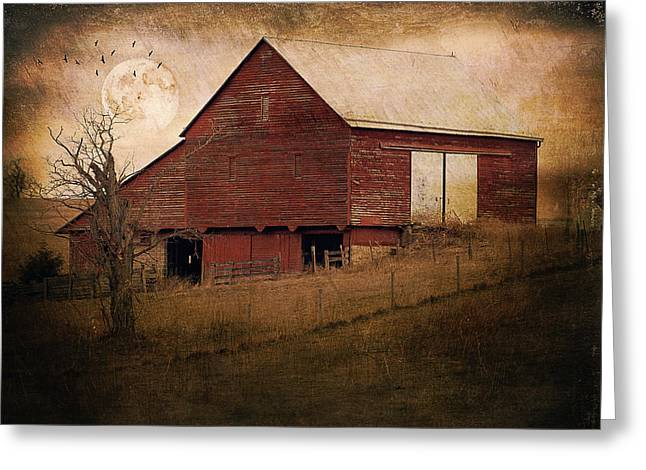 Red Barn In The Evening Greeting Card by Kathy Jennings