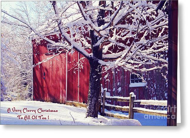 Christmas Greeting Cards - Red Barn in the Winter Connecticut USA Greeting Card by Sabine Jacobs