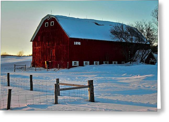 Farbenfroh Greeting Cards - Red Barn in Winter ... Greeting Card by Juergen Weiss