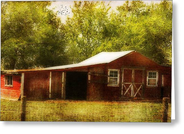 Red Barn Greeting Card by Joan Bertucci