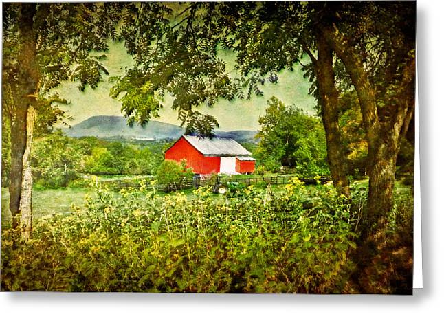 Barn Print Greeting Cards - Red Barn Greeting Card by Kathy Jennings