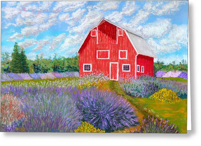 Old Barns Pastels Greeting Cards - Red Barn Lavender Farm Greeting Card by James Geddes