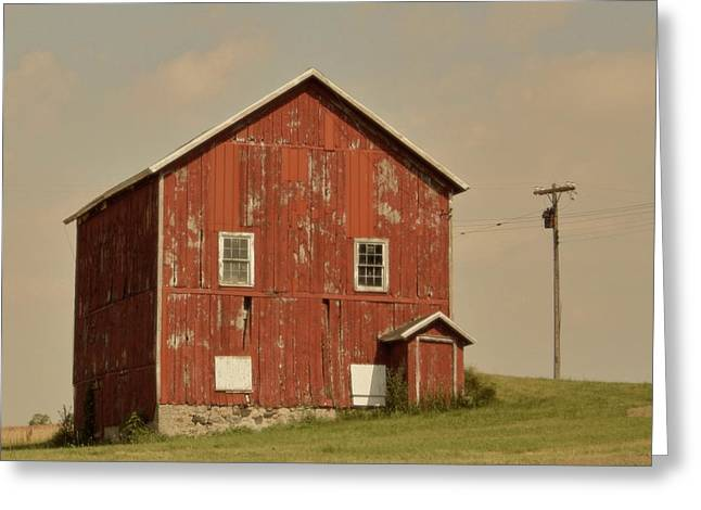 The Hills Greeting Cards - Red Barn Greeting Card by Odd Jeppesen