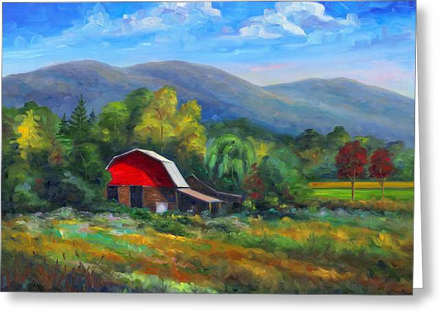 Red Barn Prints Greeting Cards - Red Barn on Cane Creek Greeting Card by Jeff Pittman