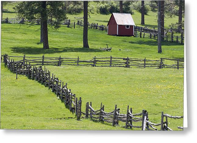 Bucolic Scenes Photographs Greeting Cards - Red Barn On Highway 160 Near Pagosa Greeting Card by Rich Reid