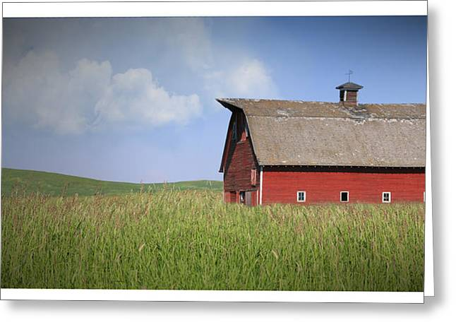 Old Barns Mixed Media Greeting Cards - Red Barn Pano Greeting Card by Melisa Meyers