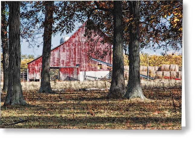 Hay Bales Greeting Cards - Red Barn through The Trees Greeting Card by Pamela Baker