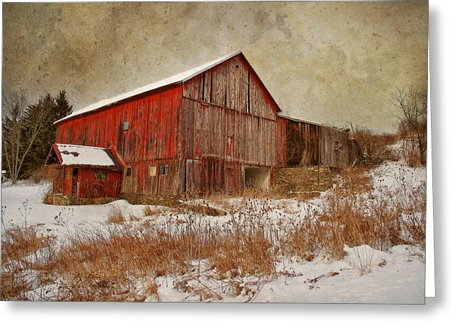 Red Barn White Snow Greeting Card by Larry Marshall