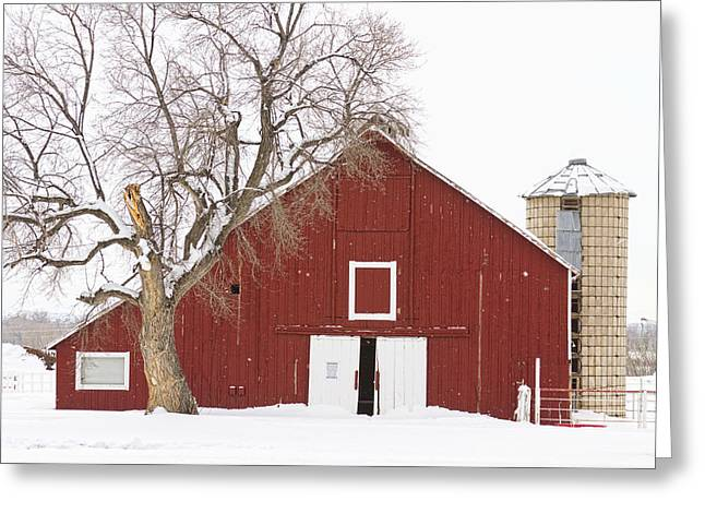 Red Barn Prints Greeting Cards - Red Barn Winter Country Landscape Greeting Card by James BO  Insogna