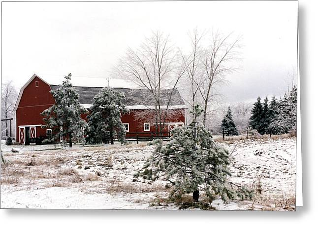 Surreal Barn Prints Greeting Cards - Michigan Red Barn Winter Scene Snow Landscape Greeting Card by Kathy Fornal