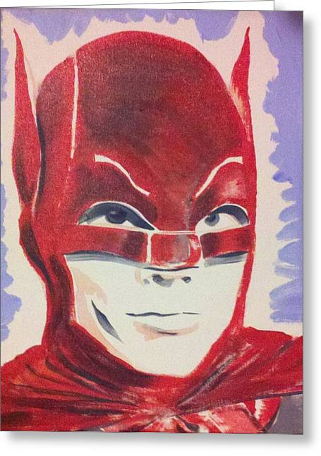 Old Tv Paintings Greeting Cards - Red Batman Greeting Card by Ronald Greer