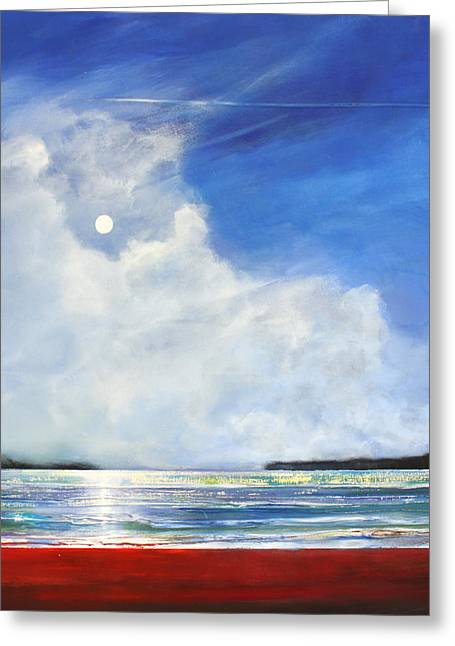 Moon Beach Greeting Cards - Red Beach Greeting Card by Toni Grote