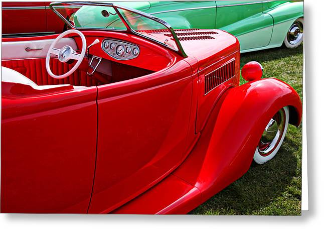 Windshield Greeting Cards - Red beautiful car Greeting Card by Garry Gay