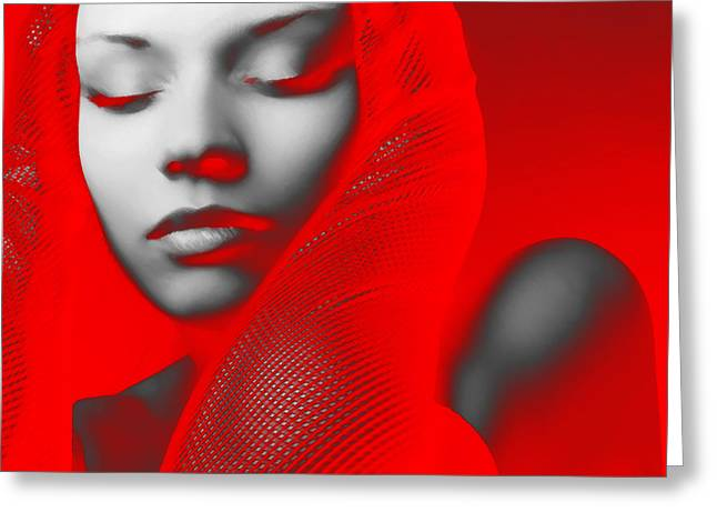 Party Digital Art Greeting Cards - Red Beauty  Greeting Card by Naxart Studio