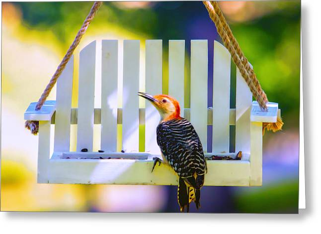 Red-belly Comes For Lunch Greeting Card by Bill Tiepelman