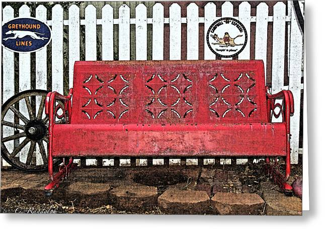 Greyhound Greeting Cards Greeting Cards - Red Bench Greeting Card by Cheri Randolph