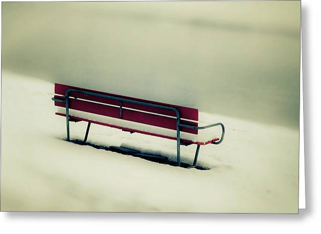 But Greeting Cards - Red Bench Greeting Card by Joana Kruse