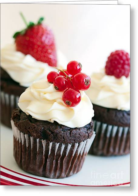 Frosting Greeting Cards - Red berry cupcakes Greeting Card by Ruth Black