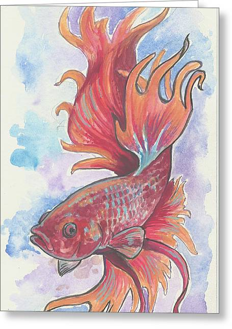 Jenn Cunningham Greeting Cards - Red Betta Greeting Card by Jenn Cunningham