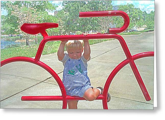 Little Boy Digital Art Greeting Cards - Red Bicycle Greeting Card by Jane Schnetlage